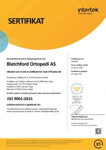 Blatchford ISO sertifikant 9001 2015